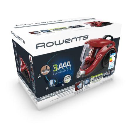 Aspirator fara sac Rowenta Compact Power Cyclonic RO3718EA, 750W, 2 nivele de filtrare, perie Easy Brush incorporata, tub metalic telescopic, Rosu