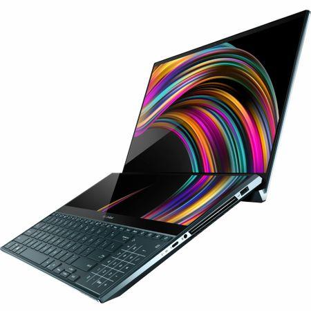 "Laptop ultraportabil Asus ZenBook Pro Duo UX581GV-H2004R cu procesor Intel® Core™ i7-9750H pana la 4.5 GHz, 15.6"", 4K, 16GB, 512GB SSD M.2, NVIDIA GeForce RTX 2060 6GB, Windows 10 Pro, Celestial Blue 1"