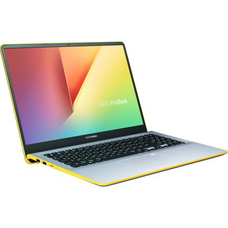 "Ultrabook ASUS VivoBook S15 S530UA-BQ056 cu procesor Intel® Core™ i5-8250U pana la 3.40 GHz, Kaby Lake R, 15.6"", Full HD, 8GB, 256GB SSD, Intel® UHD Graphics 620, Endless OS, Silver Blue with Yellow T 2"