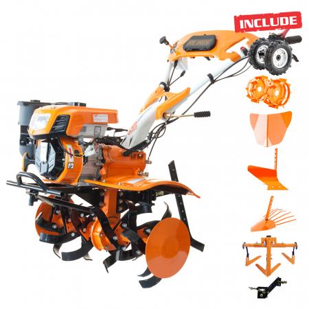 Motosapatoare RURIS 732ACC + roti cauciuc 5.00-8+rarita+plug+adaptor+dispozitiv scos cartofi+roti metalice 400 fara manicot+cultivator, 7322021acc0