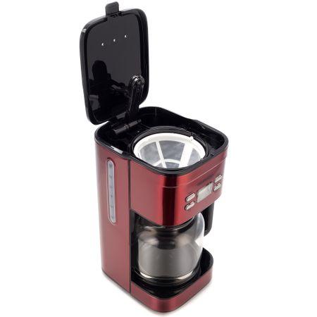 Cafetiera Daewoo DCM1000R, 1000 W, 1.5 l, Filtru permanent, Timer 24 ore, Indicator nivel apa, Design ergonomic, Rosu/Negru3