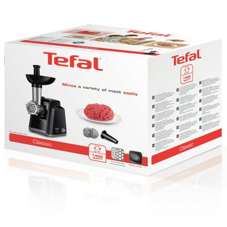 Masina de tocat carne Tefal Classic NE105838, 1400 W, 1.7 kg/min, Functie Reverse, 2 Site de tocat, Cutit cu functie de maruntire, Accesoriu pentru carnati, Negru