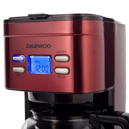 Cafetiera Daewoo DCM1000R, 1000 W, 1.5 l, Filtru permanent, Timer 24 ore, Indicator nivel apa, Design ergonomic, Rosu/Negru2