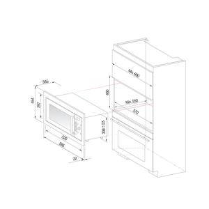 Pachet cuptor microunde incorporabil Daewoo KOC-9Q4T, 28 l, 900 W, Control digital, Curatare cu aburi, Convectie, Gratar, Inox + kit instalare KIT-9Q401