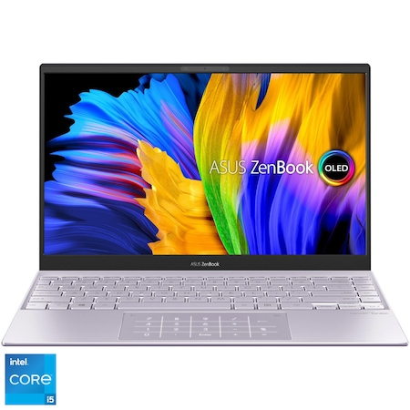 "Laptop ultraportabil ASUS ZenBook 13 OLED UX325EA-KG347 cu procesor Intel® Core™ i5-1135G7, 13.3"", Full HD, 8GB, 512GB SSD, Intel Iris Xᵉ Graphics, Free DOS, Lilac Mist [0]"