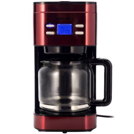 Cafetiera Daewoo DCM1000R, 1000 W, 1.5 l, Filtru permanent, Timer 24 ore, Indicator nivel apa, Design ergonomic, Rosu/Negru0