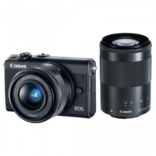 Aparat foto Mirrorless Canon EOS M100, 24.2 MP, Black + Obiectiv 15-45 mm + Obiectiv 55-200 mm 0