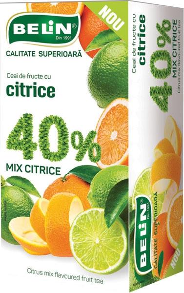 Ceai de fructe cu citrice 40% , 20 pl , 40gr, 0