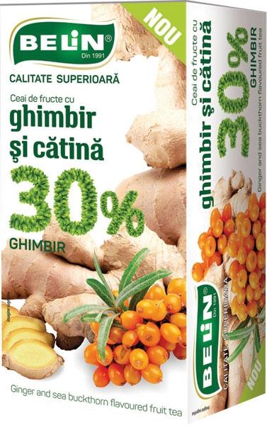 Ceai de fructe cu ghimbir si catina 30%, 20 pl, 40gr, + 1 cutie ceai Verde cu aloe GRATUIT 0