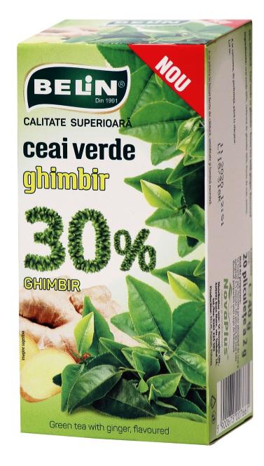 Ceai verde cu ghimbir 30%, 20pl, 40gr, 0