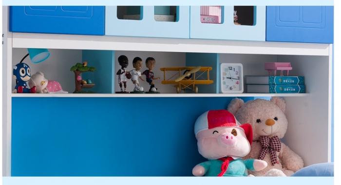 Pat din  MDF cu dulap 4 uși și etajeră pentru cameră copii 3