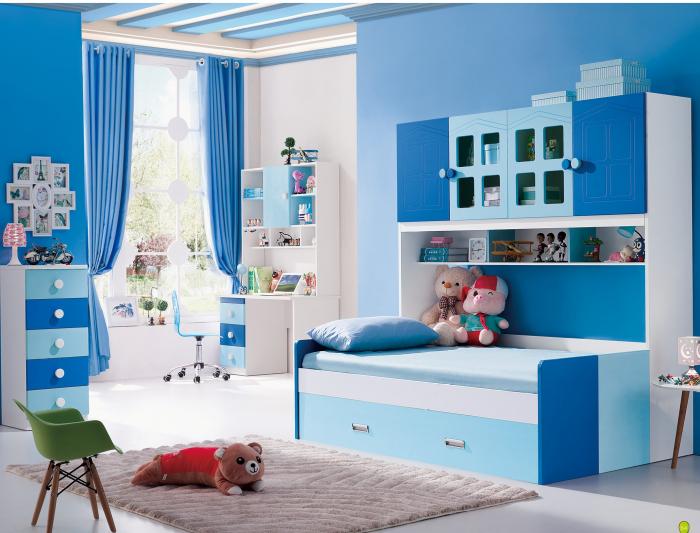 Pat din  MDF cu dulap 4 uși și etajeră pentru cameră copii 0