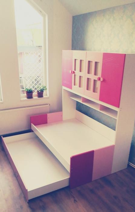 Pat din  MDF cu dulap 4 uși și etajeră pentru cameră copii 8
