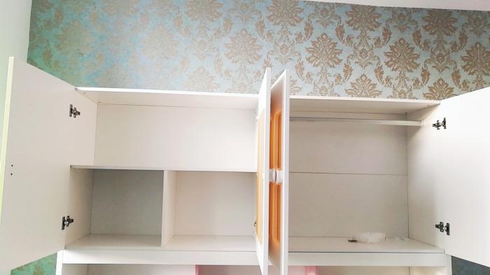 Pat din  MDF cu dulap 4 uși și etajeră pentru cameră copii [6]