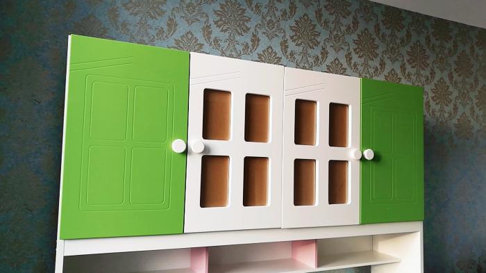 Pat din  MDF cu dulap 4 uși și etajeră pentru cameră copii [2]