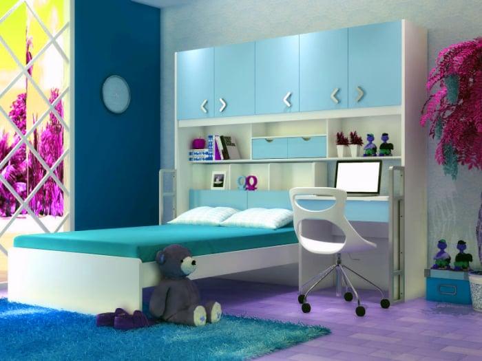 Set mobilier camera copii pat cu dulap, birou si scaun 0