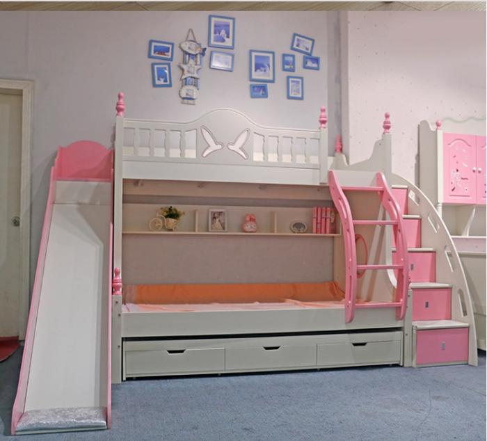 Paturi supraetajate cu tobogan pentru dormitor copii [4]