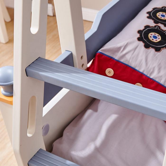Pat supraetajat Guard  din lemn masiv si MDF, cu 3 sertare pentru depozitare,  scară si dulap depozitare 4 sertare pentru dormitor copii cod 918 [9]
