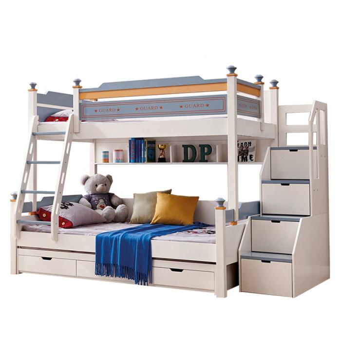 Pat supraetajat Guard  din lemn masiv si MDF, cu 3 sertare pentru depozitare,  scară si dulap depozitare 4 sertare pentru dormitor copii cod 918 [2]