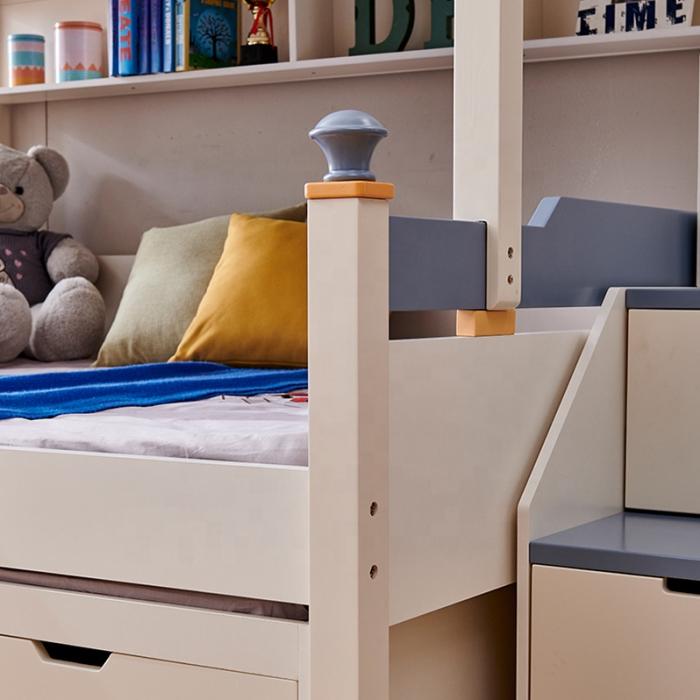 Pat supraetajat Guard  din lemn masiv si MDF, cu 3 sertare pentru depozitare,  scară si dulap depozitare 4 sertare pentru dormitor copii cod 918 [6]