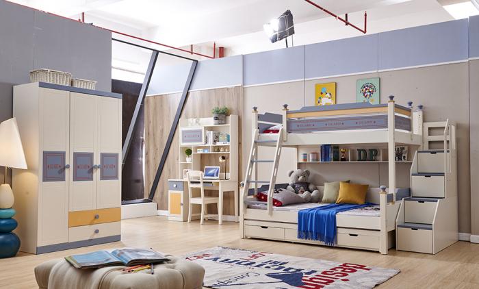 Pat supraetajat Guard  din lemn masiv si MDF, cu 3 sertare pentru depozitare,  scară si dulap depozitare 4 sertare pentru dormitor copii cod 918 [14]