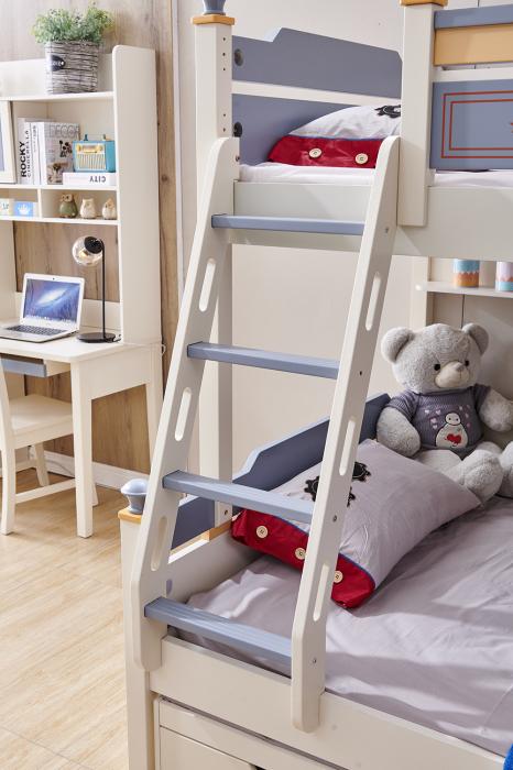 Pat supraetajat Guard  din lemn masiv si MDF, cu 3 sertare pentru depozitare,  scară si dulap depozitare 4 sertare pentru dormitor copii cod 918 [8]