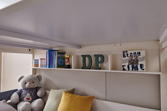 Pat supraetajat Guard  din lemn masiv si MDF, cu 3 sertare pentru depozitare,  scară si dulap depozitare 4 sertare pentru dormitor copii cod 918 [12]