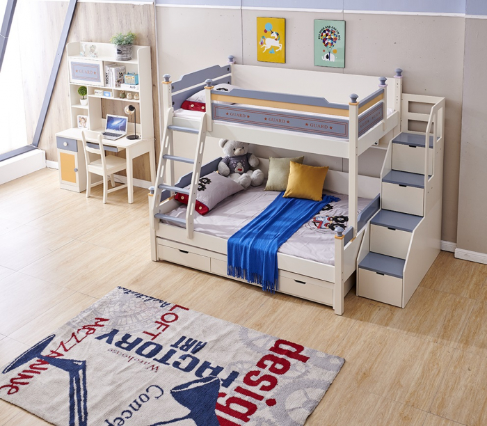 Pat supraetajat Guard  din lemn masiv si MDF, cu 3 sertare pentru depozitare,  scară si dulap depozitare 4 sertare pentru dormitor copii cod 918 [3]