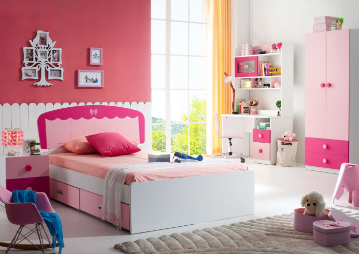 Set mobilier camera fete MDF Princess MDF: pat 120 x 200cm, noptiera, dulap 2 usi, birou si scaun 0