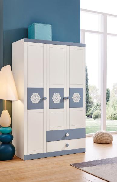 Set mobilier Bingo din MDF si lemn masiv pentru camera copii 4 piese: pat 120 x 190cm, noptiera, dulap 3 usi, birou -cod 8921 10