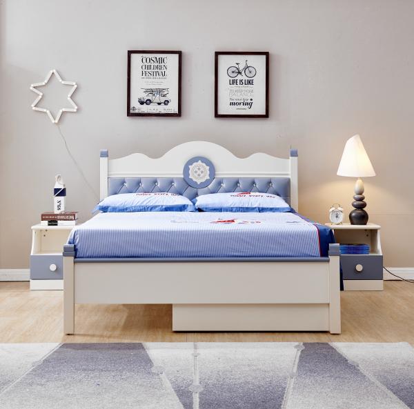 Set mobilier Bingo din MDF si lemn masiv pentru camera copii 4 piese: pat 120 x 190cm, noptiera, dulap 3 usi, birou -cod 8921 2