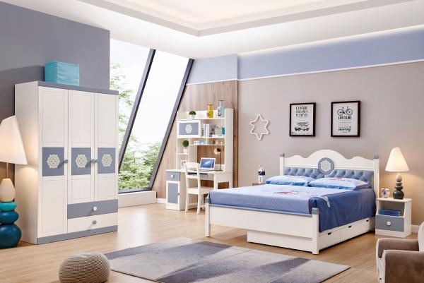 Set mobilier Bingo din MDF si lemn masiv pentru camera copii 4 piese: pat 120 x 190cm, noptiera, dulap 3 usi, birou -cod 8921 0
