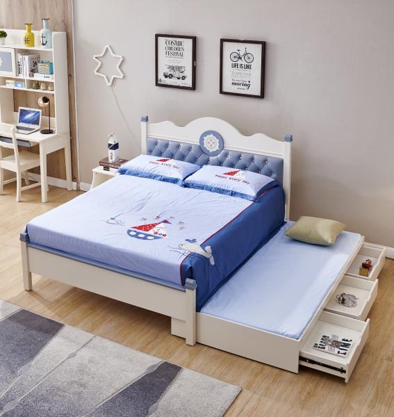 Set mobilier Bingo din MDF si lemn masiv pentru camera copii 4 piese: pat 120 x 190cm, noptiera, dulap 3 usi, birou -cod 8921 1
