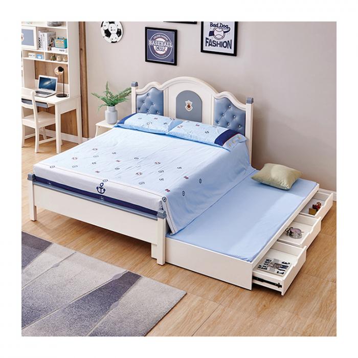 Set mobilier Tom din MDF si lemn masiv pentru camera copii 4 piese: pat 120 x 190cm, noptiera, dulap 3 usi, birou -cod 8919 [2]