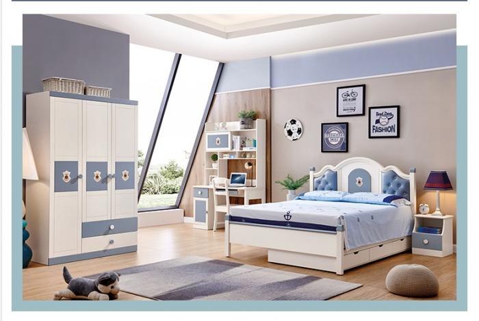 Set mobilier Tom din MDF si lemn masiv pentru camera copii 4 piese: pat 120 x 190cm, noptiera, dulap 3 usi, birou -cod 8919 [0]