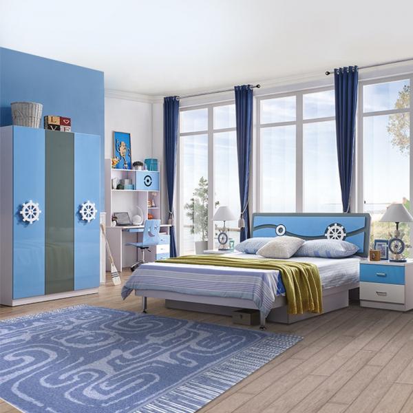 Set mobilier Rocky din MDF pentru camera copii 4 piese: pat 120/190cm cu 2 sertare depozitare, noptieră, dulap 3 usi, birou - cod 8119 [0]