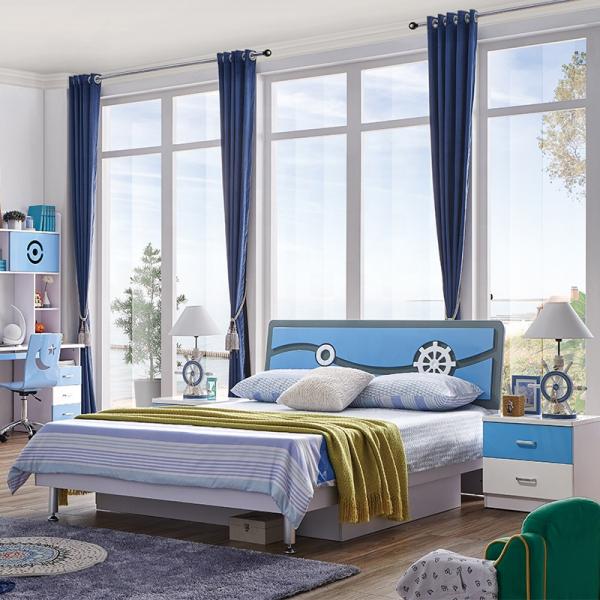 Set mobilier Rocky din MDF pentru camera copii 4 piese: pat 120/190cm cu 2 sertare depozitare, noptieră, dulap 3 usi, birou - cod 8119 [2]