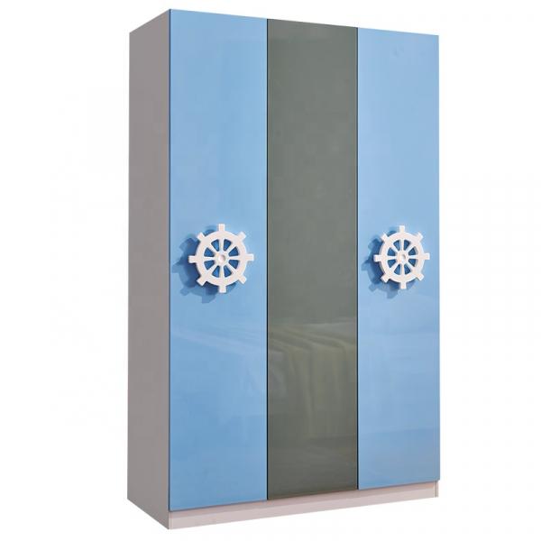 Set mobilier Rocky din MDF pentru camera copii 4 piese: pat 120/190cm cu 2 sertare depozitare, noptieră, dulap 3 usi, birou - cod 8119 [7]