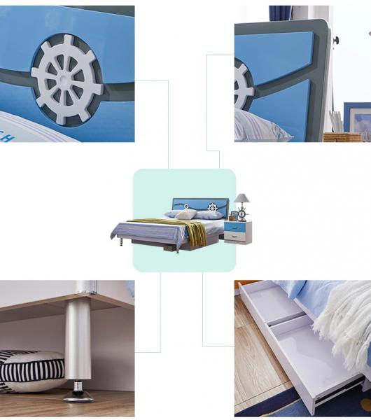Set mobilier Rocky din MDF pentru camera copii 4 piese: pat 120/190cm cu 2 sertare depozitare, noptieră, dulap 3 usi, birou - cod 8119 [11]