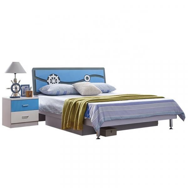Set mobilier Rocky din MDF pentru camera copii 4 piese: pat 120/190cm cu 2 sertare depozitare, noptieră, dulap 3 usi, birou - cod 8119 [3]