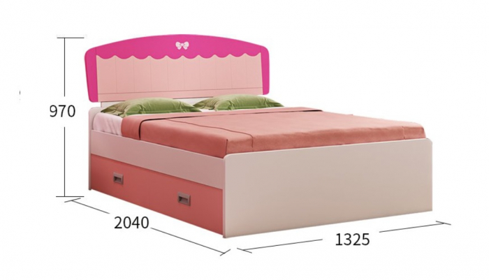 Set mobilier camera fete MDF Princess MDF: pat 120 x 200cm, noptiera, dulap 2 usi, birou si scaun 3