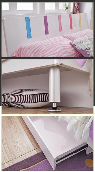 Set mobilier Piano din MDF pentru camera copii 4 piese: pat 120 x 190cm, noptiera, dulap 3 usi, birou -cod 8860 5
