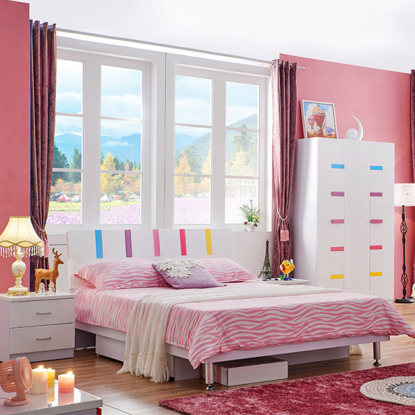 Set mobilier Piano din MDF pentru camera copii 4 piese: pat 120 x 190cm, noptiera, dulap 3 usi, birou -cod 8860 1