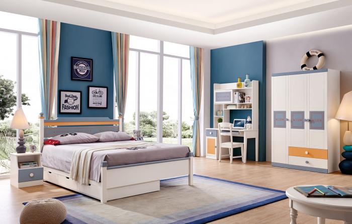 Set mobilier Guarddin MDF si lemn masiv pentru camera copii 4 piese: pat 120 x 190cm, noptiera, dulap 3 usi, birou -cod 8913 [0]