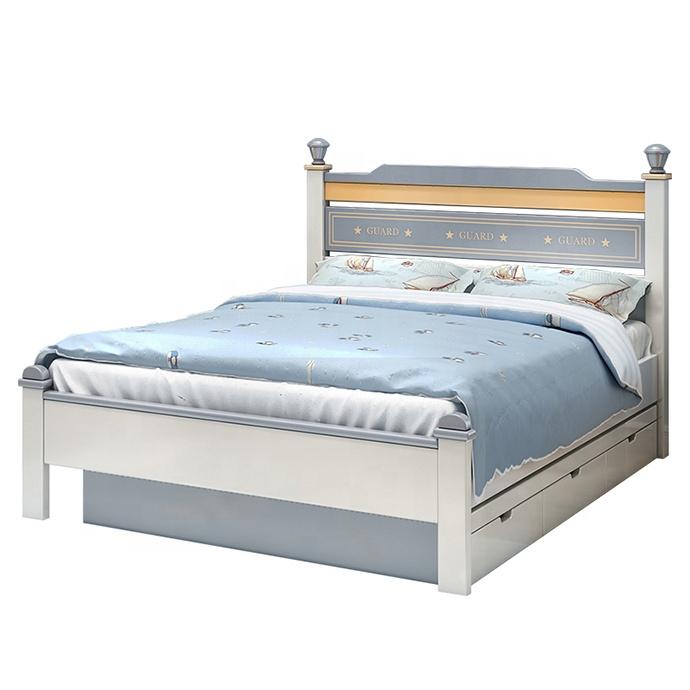 Set mobilier Guarddin MDF si lemn masiv pentru camera copii 4 piese: pat 120 x 190cm, noptiera, dulap 3 usi, birou -cod 8913 [8]