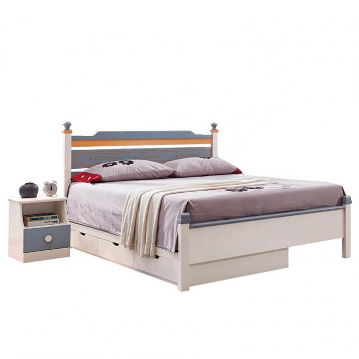 Set mobilier Guarddin MDF si lemn masiv pentru camera copii 4 piese: pat 120 x 190cm, noptiera, dulap 3 usi, birou -cod 8913 [5]