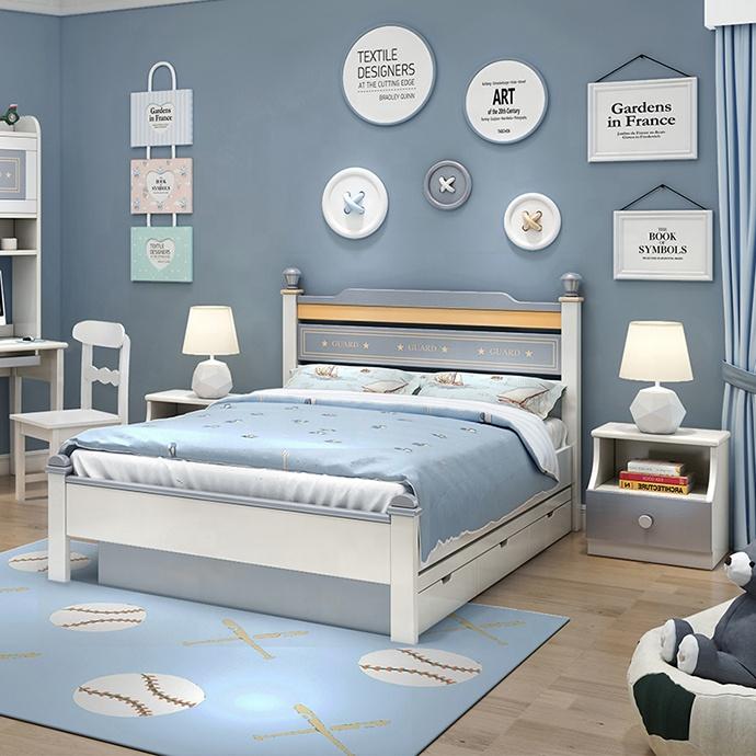 Set mobilier Guarddin MDF si lemn masiv pentru camera copii 4 piese: pat 120 x 190cm, noptiera, dulap 3 usi, birou -cod 8913 [6]