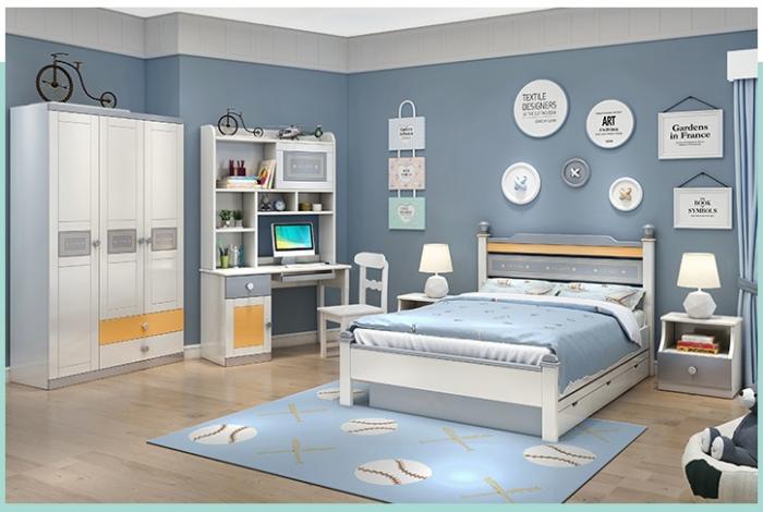 Set mobilier Guarddin MDF si lemn masiv pentru camera copii 4 piese: pat 120 x 190cm, noptiera, dulap 3 usi, birou -cod 8913 [1]