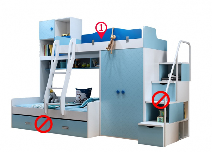 Paturi supraetajate, cu dulap, scara si biblioteca pentru dormitor doi copii 4