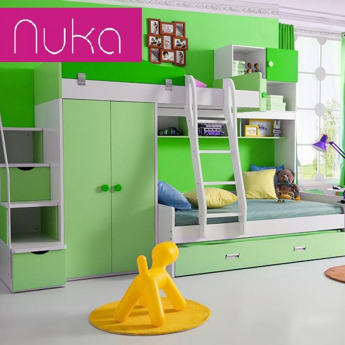 Paturi supraetajate, cu dulap, scara si biblioteca pentru dormitor doi copii 1